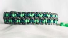 Little hearts collar - Mint Green/Teal/Silver Black Stripes